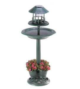 Solar Bird Bath with Light and Planter