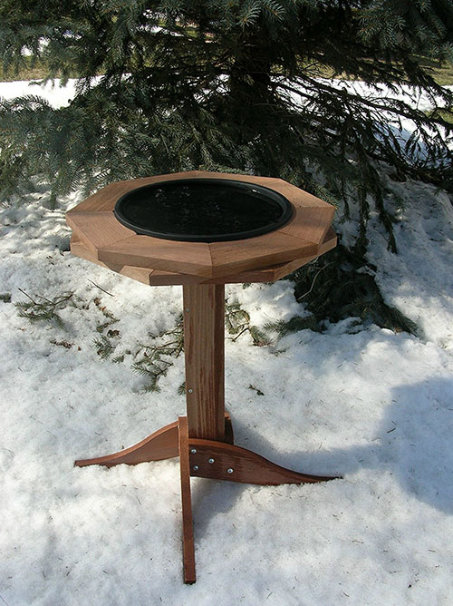 heated birdbath, bird bath, wood